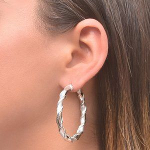 45mm Twisted Sterling Silver Hoops